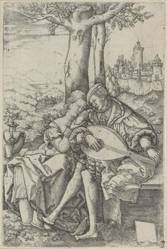 A Young Couple Seated Under a Tree, the Man Playing the Lute, Allaert Claesz., 1540 | Museum Boijmans Van Beuningen