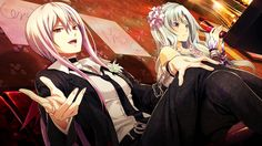 Anime picture 1280x720 with  disorder 6 shiina (disorder 6) joe (disorder 6) long hair open mouth wide image red eyes game cg purple eyes sitting pink hair silver hair otoko no ko girl dress male hair ornament necktie chain handcuffs