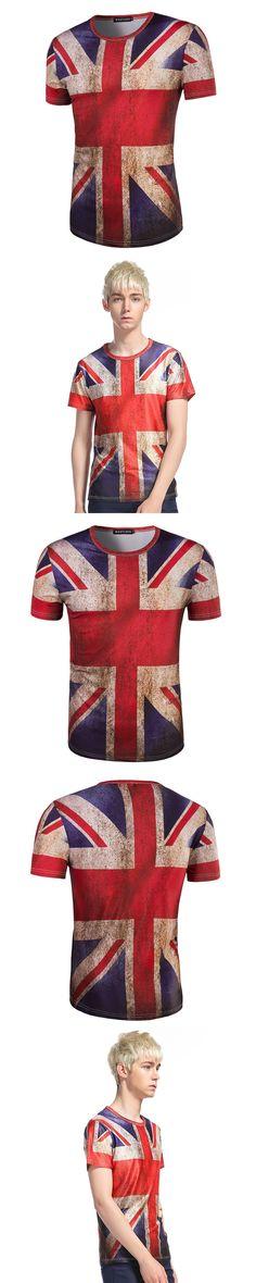 New Arrivals Pattern Man Fashion Britain National Flag Printing Short Sleeve dragon ball T tee shirt jersey Free shipping