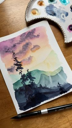 Watercolor Paintings For Beginners, Art Watercolor, Watercolor Projects, Watercolour Tutorials, Watercolor Techniques, Watercolor Flowers, Painting With Watercolors, Watercolor Landscape Tutorial, Landscape Drawing Easy