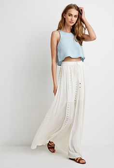 Crochet-Paneled Maxi Skirt | Forever 21 - 2000052765