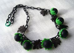 Vintage celluloid early plastic acorns necklace - bakelite style on Etsy, $75.00
