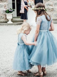 Blue Lace Top Tulle Flower Girl Dresses, Popular Cheap Junior Bridesmaid Dresses, The dresses are fully lined, 4 bones in the bodice, chest pad . Toddler Flower Girl Dresses, Girls Blue Dress, Tulle Flower Girl, Girls Dresses, Girls Wear, Baby Flower, Wedding Flower Girl Dresses, Dusty Blue Dress, Prom Dresses