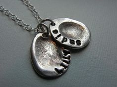 Fingerprint Jewelry Silver Personalized Mommy Charm for Necklace - Gift for Mom from Kid