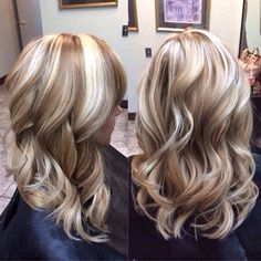 Very pretty blonde highlights and lowlights. Hair color