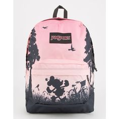 Jansport X Disney High Stakes Super Cute Minnie Backpack ($50) ❤ liked on Polyvore featuring bags, backpacks, jansport bags, jansport, jansport daypack, padded backpack and pink bag