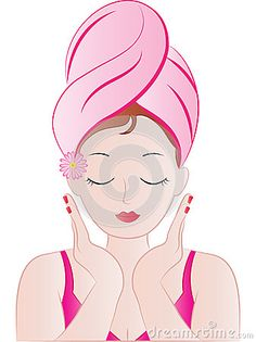 Beautiful Spa Girl vector illustration with a towel wrapped around her hair and a pink daisy.