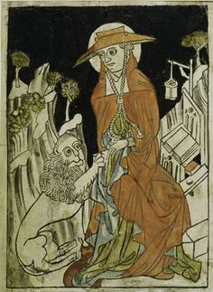 Austrian (?), Saint Jerome Removing a Thorn from the Lion's Paw ca. 1430, color woodcut, Albertina, Vienna