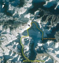 View from space showing South Col route and North Col/Ridge route for climbing Mt Everest South Col, Top Of Mount Everest, Monte Everest, World History Lessons, Photos Voyages, Amazing Adventures, Top Of The World, Mountaineering, Climbers