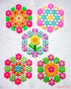 Floral coasters perler beads (MUST DO) Melty Bead Patterns, Pearler Bead Patterns, Perler Patterns, Beading Patterns, Peyote Patterns, Perler Beads, Perler Bead Art, Art Perle, Motifs Perler
