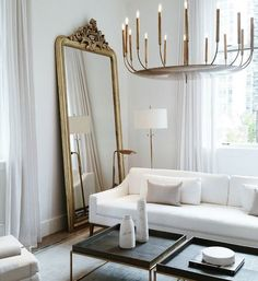 Mirrors – Home Decor :     Idée déco : miroir + lustre .    -Read More –