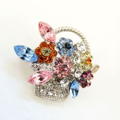 Multicolor Rhinestone Flower Basket Brooch, Vintage Weiss ? Marquise Cut Pave Stones Mid Century Jewelry