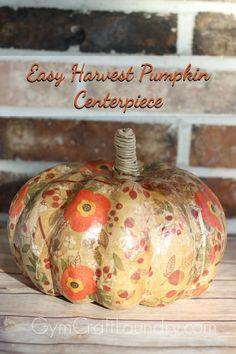 Decoupage Idea for Fall Harvest Pumpkin Pumpkin Farm, Diy Pumpkin, Pumpkin Crafts, Paper Mache Pumpkin, Pumpkin Centerpieces, Thanksgiving Centerpieces, Thanksgiving Crafts, Thanksgiving Table, Holiday Crafts