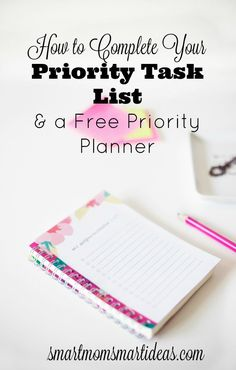 I love these tips to complete your to-do list. Do you have too many things to do on your task list? Use this FREE Task Planner to set your daily priorities and make your day a success. Time Management Printable, Home Management Binder, Time Management Tips, Planner Tips, Goals Planner, Happy Planner, Planner Organization, Organizing Tips, Erin Condren Life Planner