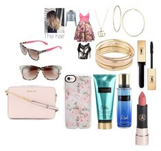 """""""Untitled #704"""" by moniquebieberlover ❤ liked on Polyvore featuring Boohoo, Gucci, GUESS, Mudd, Yves Saint Laurent, Anastasia Beverly Hills, Victoria's Secret, Casetify, Kate Spade and MICHAEL Michael Kors"""