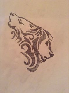 Tribal wolf and lion heads