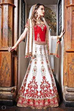 Indian bridal red and white lengha with 10 panelled skirt and a red velvet blouse - blouses uk, sleeve blouse, white blouse black collar *ad