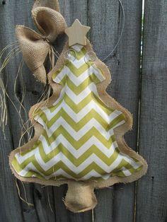 READY TO SHIP Burlap Christmas Tree  Green Chevron Fabric Burlap Door Hanger on Etsy, $28.00