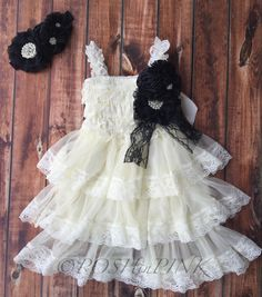 Rustic girl dress, pin, ivory country Champagne, cream lace chiffon dress, flower girl, bridal wedding, shabby chic, vintage, ruffle, child