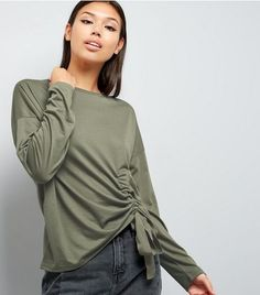 Olive Green Ruched Front Long Sleeve T-Shirt  | New Look
