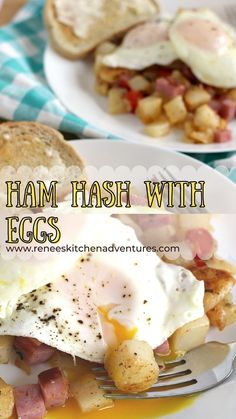 Ham Hash with Eggs by Renee's Kitchen Adventures. A great breakfast option using ham steaks and shortcut potatoes. Delicious breakfast, brunch. lunch or even dinner option. Easy recipe, good for beginnner cooks. Roast Recipes, Egg Recipes, Brunch Recipes, Brunch Ideas, Breakfast Recipes, Quick Potato Recipes, Potatoe Casserole Recipes, Ham Steaks, Potato Side Dishes