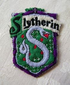 Harry Potter Slytherin Shield Hand Embroidered Felt Ornament by Autumn2May, via Flickr