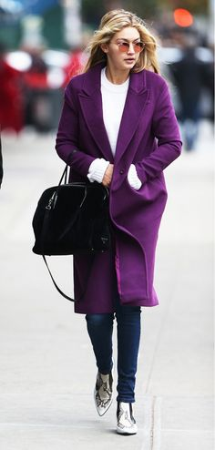 3 Celebrity Looks You Can Easily Recreate, with Olivia Palermo & More via @WhoWhatWear--- gigi hadid; love that purple coat