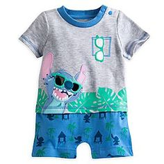 Stitch Knit Romper for Baby | Disney Store Baby will enjoy happy play on any planet in this layered look knit romper with expressive Stitch appliqué, plus attached tropical print ''pants'' to complete the sporty, casual styling.