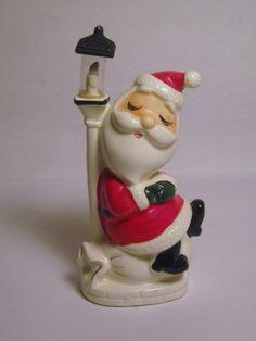Vintage Christmas Hard to Find Santa & Light Post Figurine Glass Globe Napco Lefton Ornament Decoration Japan Lantern Holt Howard era