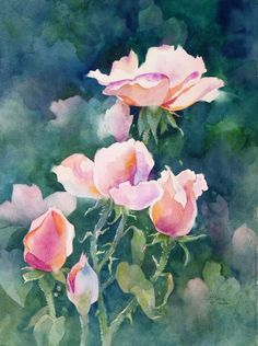 Texas Rose, watercolor on cold pressed paper, $650.00 framed