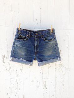 80s High Waist Levi cut off Boyfriend shorts 32 33 waist Denim distressed faded festival boho orange tag on Etsy, $25.00