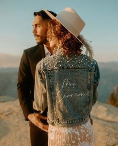 Jean jacket for wedding day - custom jean jacket with pearl details - Gemini Fusion pearl denim jacket, $86, Etsy - See more bridal jackets on WeddingWire! Future Mrs, Fashion Games, Bride Gifts, On Your Wedding Day, Mother Of The Bride, Cool Girl, Bridesmaid, Denim, Bridal Jackets