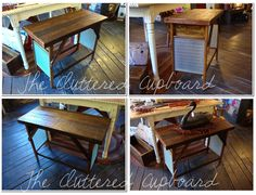 A TRASH TO TREASURE project today - a table we made from 2 vintage washboards and salvage barnboard. This is a great rustic / primitive piece - !! It has been stained, varnished and waxed - and has an amazing dark , rich colour!! :)