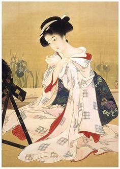 鏑木清方  ( Kaburagi Kiyokata, 1878 – 1972 ) 初夏の化粧