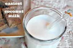 This is the Easiest Homemade Coconut Milk Recipe around. No bags, no waste, and super frugal. For drinking, baking, and all your dairy-free needs.