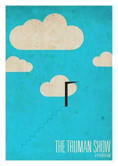 A poster of The Truman Show with a more cartoony version of the famous stair scene. Little lines are used but if you've seen the movie you'll understand what everything here really is. Best Movie Posters, Minimal Movie Posters, Minimal Poster, Cinema Posters, Movie Poster Art, Cool Posters, Cinema Cinema, Die Truman Show, Poster Minimalista
