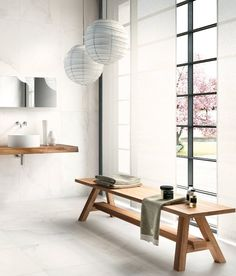 We're thinking of importing this Carrara-like porcelain tile from Italy. What do you think? I like the bench