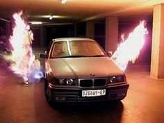 This BMW flamethrower was once a real option for your new car in Johannesburg, South Africa. James Bond Gadgets, Bond Cars, Bmw 3 Series, Car Tuning, Bmw E36, Dream Cars, South Africa, Fun Facts, Things To Sell