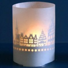 Muenster skyline souvenir candle votive in gift tube-box, attachment for candles incl projection screen and tea light Flickering Lights, T Lights, Delft, Projection Screen, Shops, Diy Inspiration, Skyline, Spring Steel, Shadow Play