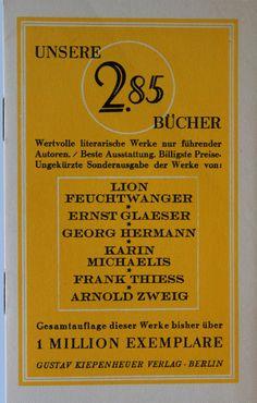 Verlagswerbung für Gustav Kiepenheuer