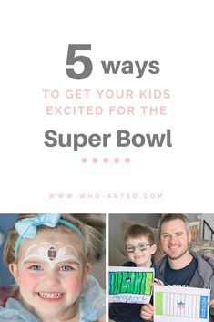 For the first time EVER - my husband and I were both able to sit down and watch the Super Bowl with our kids. (As opposed to running around entertaining them and occasionally catching a glimpse of the screen). Here are the 5 things we did to get our kids amped up for the big game!! Big Game, Our Kids, 5 Things, 5 Ways, Super Bowl, First Time, You Got This, Husband, How To Get