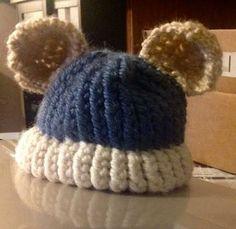 Loom knitted teddy bear hat by Crystal F.