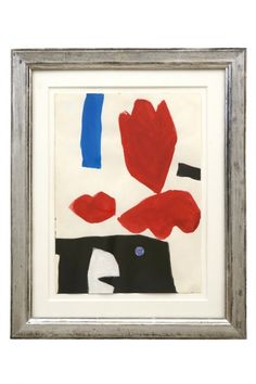 Abstract watercolor painting by Jacques Nestle (1907-1993) in antique silver gilt frame. France, circa 1970