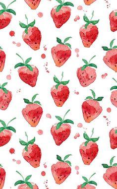Pattern Design Vintage strawberry watercolor wallpaper Pattern DesignSource : Vintage strawberry watercolor wallpaper by yurdanurolcay Cute Backgrounds, Cute Wallpapers, Iphone Wallpapers, Vintage Wallpapers, Watercolor Pattern, Watercolor Paintings, Watercolors, Watercolor Design, Painting Canvas