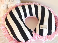 Black and White Stripe with Baby Pink Nursing Pillow Cover for Baby (Boppy Cover) by ShopRitzyBaby