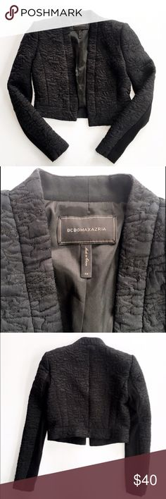 BCBG MaxAzria cropped quilted jacket Stunning black cropped quilted jacket from BCBG MaxAzria, size XS. Open front, sleeves have a stretchy knit underside for easier movement. BCBGMaxAzria Jackets & Coats