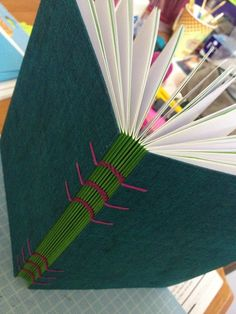Coptic stitch binding notebook. Notice the brilliant idea: a coloured cover for every signature.