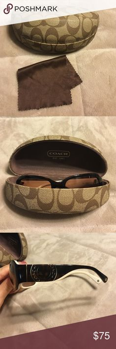 Dark brown Coach sunglasses with case Dark brown Coach sunglasses with case and lens wipe. No scratches, and only worn a couple times. Great condition Coach Accessories Sunglasses