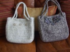 Women's accessories. Hand knitted, felted bags. £22.00. One of a kind designs hand made in Wales from www.liliwenfachknits.co.uk