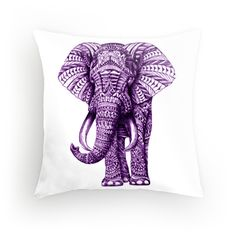 Purple Zentangle Elephant